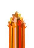 Muitas mãos diferentes das raças na seta formam ilustração do vetor