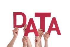 Muitas mãos dos povos que guardam dados vermelhos da palavra fotos de stock royalty free