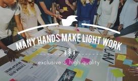 Muitas mãos fazem o conceito claro da colaboração dos trabalhos de equipa do trabalho Foto de Stock Royalty Free