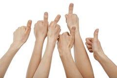 Muitas mãos que dão os polegares acima Fotos de Stock Royalty Free