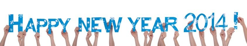 Muitas mãos que guardam o ano novo feliz 2014 Fotos de Stock Royalty Free