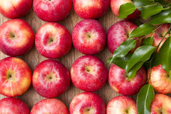 Muitas maçãs vermelhas com folhas em um fundo de madeira. Fotos de Stock Royalty Free
