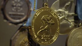 Muitas medalhas de ouro com close-up tricolor das fitas Medalha para o primeiro lugar na competição no judô Muitas medalhas para  Imagem de Stock