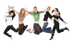 Muitas meninas de salto no branco, colagem foto de stock