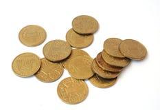 Muitas moedas um hryvnia Ucrânia Foto de Stock