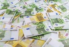 Muitas notas de banco euro- Fotografia de Stock Royalty Free