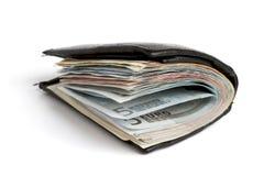Muitas notas de banco na carteira Foto de Stock