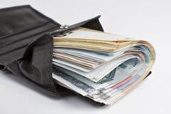 Muitas notas de banco na carteira Fotografia de Stock Royalty Free