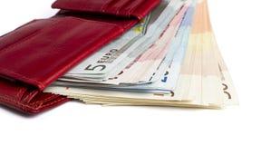 Muitas notas de banco na carteira Foto de Stock Royalty Free