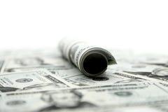 Muitas notas de dólar fecham-se acima do tiro Fotos de Stock Royalty Free