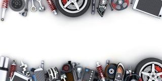 Muitas peças do carro no fundo branco fotos de stock