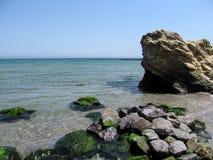 Muitas pedras do verde no primeiro plano e em uma rocha à direita estão na água do mar de turquesa contra um céu azul claro Fotografia de Stock Royalty Free