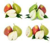 Muitas peras grandes, maduras, brilhantes peras em um fundo branco, inteiro e no seção transversal fotos de stock