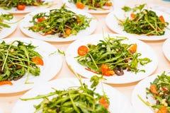 Muitas placas com salada fresca com rúcula da carne, dos tomates, a nuts e a misturada dos verdes, mesclun, mache na tabela Saudá Imagem de Stock Royalty Free