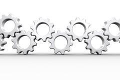 Muitas rodas denteadas e rodas brancas Imagem de Stock Royalty Free