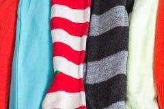 Muitas texturas coloridas de pano da tela com testes padrões Foto de Stock