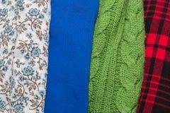 Muitas texturas coloridas de pano da tela com testes padrões Imagens de Stock Royalty Free