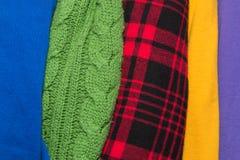 Muitas texturas coloridas de pano da tela com testes padrões Imagem de Stock Royalty Free