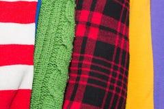 Muitas texturas coloridas de pano da tela com testes padrões Imagens de Stock
