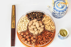 Muitas variedades de frutos secos Imagem de Stock
