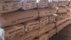 Muito armazenamento preto dos saquinhos de chá no estoque da fábrica em Sri Lanka Imagem de Stock