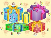 Muito caixas para presentes ilustração stock