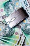 Muito dinheiro e um rato do computador que encontra-se neles Fotos de Stock Royalty Free