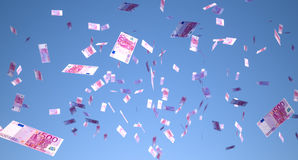 Muito dinheiro que cai do céu Fotografia de Stock