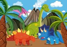 Muito dinossauro na natureza ilustração do vetor