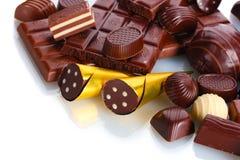 Muito doces de chocolate diferentes Imagens de Stock Royalty Free