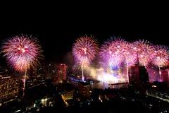Muito a explosão colorida dos fogos de artifício voa o céu noturno fotografia de stock royalty free