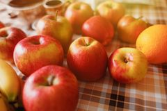 Muito fruto na mesa de cozinha Fotografia de Stock