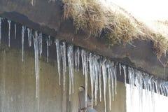 Muito gelo sob o telhado fotografia de stock royalty free