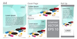 Muito grupo do vetor da bandeira do texto do comprimido Fotografia de Stock