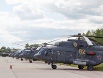 Muito helicóptero da força aérea do russo em um airshow em Kubinka Imagem de Stock