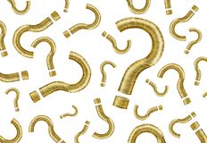 Muito ponto de interrogação feito do dinheiro do ouro inventa no branco foto de stock royalty free