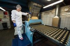 Muito produção maciça da fábrica doce do alimento do bolo Imagem de Stock Royalty Free