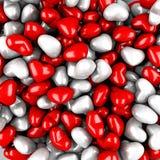 Muito Valentine Hearts Red Background liso Foto de Stock