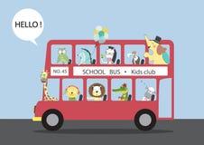 Muitos animais que montam em um ônibus, ilustrações do vetor ilustração royalty free