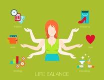 Muitos armaram o estilo de vida do equilíbrio da vida da mulher no vetor liso Foto de Stock