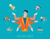 Muitos armaram o estilo de vida do equilíbrio da vida do homem no vetor liso ilustração stock