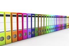 Muitos arquivam dobradores no fundo branco. 3d ilustração stock