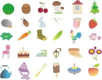 Muitos assuntos e animais pequenos ilustração do vetor