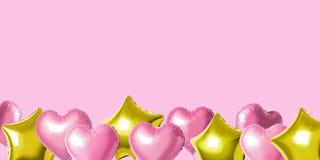 Muitos balões coloridos da folha do hélio de formas diferentes sobre o fundo brilhante Conceito mínimo do feriado fotografia de stock