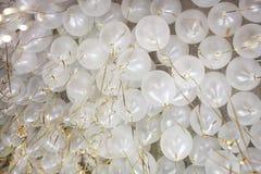 Muitos balões do branco com teto da fita do ouro Foto de Stock Royalty Free