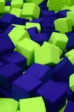 Muitos blocos coloridos do delicado em um kids' ballpit em um campo de jogos Imagem de Stock Royalty Free