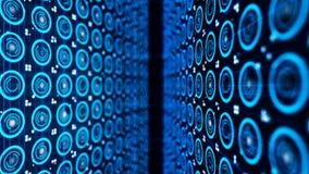 Muitos círculos eletrônicos Muitos círculos azuis eletrônicos pequenos no fundo escuro Animação abstrata de eletronicamente imagens de stock