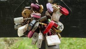 Muitos cadeado na ponte Dia do outono Tiro liso da zorra video estoque