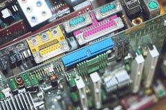 Muitos cartões-matrizes do computador do PC Dispositivos da eletrônica do processador do núcleo do mainboard da microplaqueta do  imagem de stock royalty free