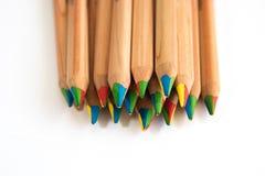 Muitos coloriram lápis fotografia de stock